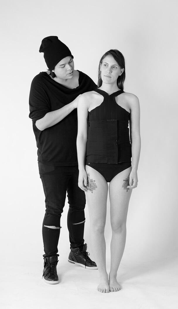 Adjusting Clothing on Model